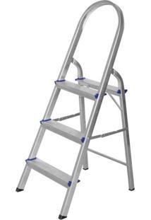Escada De Alumínio Dobrável 3 Degraus Premium Integral Cinza