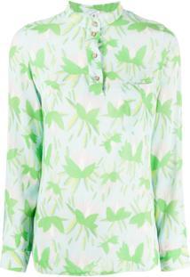 C'Est La V.It Floral Long-Sleeve Blouse - Verde