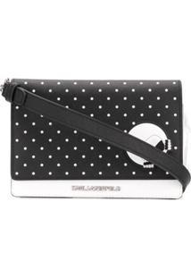 Karl Lagerfeld Bolsa Transversal Com Poás - Preto