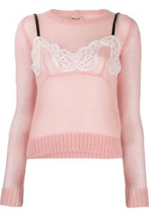 Nº21 Bow Detail Ruched Blouse - Rosa
