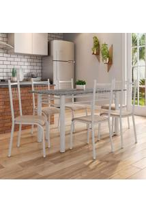 Conjunto De Mesa Granada Com 6 Cadeiras Lisboa Branco Prata E Nature Bege