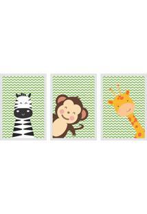 Conjunto Com 3 Quadros Decorativos Zoo Colorido