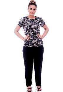 Pijama Ficalinda De Blusa Manga Curta Estampa Militar Camuflada E Viés Preto E Calça Comprida Preta.