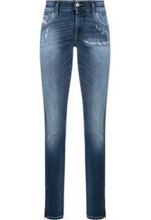 Diesel Calça Jeans Skinny Com Efeito Desbotado - Preto
