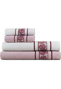Jogo De Toalhas Banho 4 Peças Appel Beauty Pérola Rosa