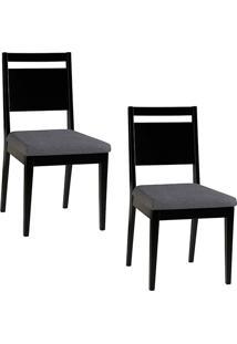 Kit 2 Cadeiras Sofia Preto Com Assento Cinza - Orb