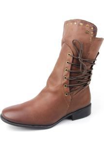 Bota Coturno Perlatto Ankle Boot Com Cadarço Cano Médio Pinhão
