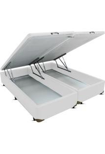 Cama Box Queen Bipartido Bau Frontal Pistão Corino Branco - 158X198