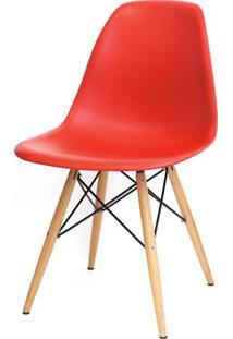 Cadeira Eames Polipropileno Vermelho Base Madeira - 14910 Sun House