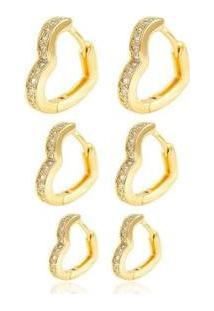 Brinco Trio De Argolas De Coração Semijoia Banho Em Ouro 18K - Feminino-Dourado