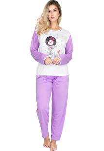 Pijama Longo Bravaa Modas Inverno Quente 010 Lilás