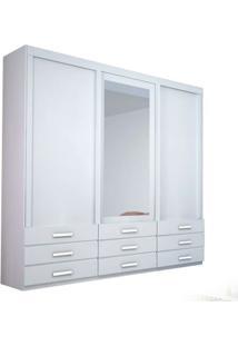 Guarda-Roupa Duplex Coral Com Espelho - 3 Portas - 100% Mdf - Branco