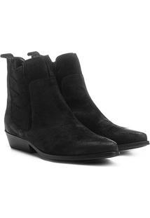 Bota Couro Chelsea Shoestock Bico Fino Elásticos Transpassados Feminina - Feminino