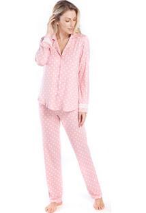 Pijama Feminino De Inverno Com Polo Poá Rosa - Tricae