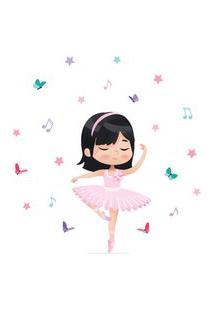 Adesivo De Parede Bailarina Asiática Para Quarto De Menina