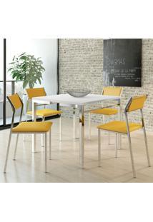 Mesa 1525 Branca Cromada Com 4 Cadeiras 1709 Amarelo Ouro Carraro