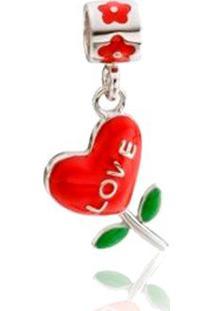 Pingente Life Flor Coração Love
