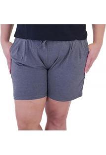 Shorts Esportivo Com Bolsos Massambani Plus Size Feminino - Feminino-Cinza