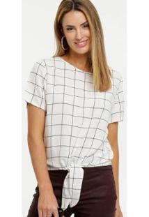 Blusa Quadriculada Amarração Marisa Feminina - Feminino-Branco
