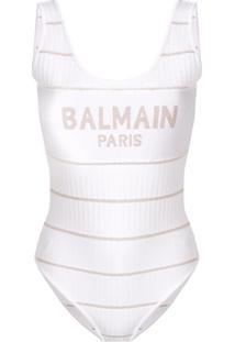 Balmain Body De Tricô Com Logo - Branco