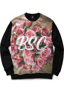 Blusa Bsc Bouquet Of Flowers Full Print - Masculino-Preto