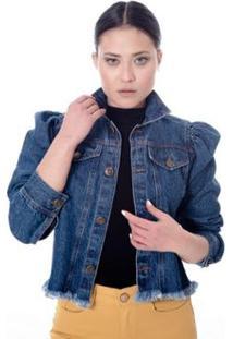 Jaqueta Jeans Manga Bufante Feminina - Feminino-Azul