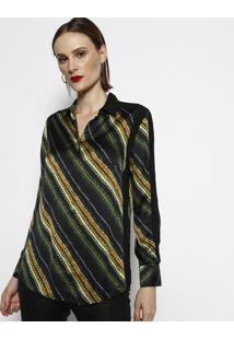 Camisa De Tranã§As - Preta & Verde - Cotton Colors Excotton Colors Extra