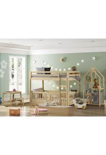 Quarto Infantil Beliche Montessoriano Rn Estante E Escrivaninha - Casatema