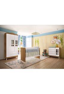 Quarto De Bebê Ariel 3 Portas Amadeirado Com Berço-Cômoda-Guarda-Roupas Carolina Baby