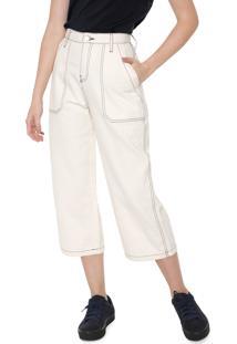 Calça Calvin Klein Jeans Pantacourt Bege