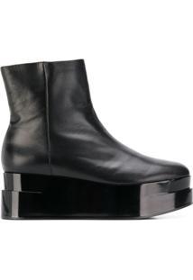 Clergerie Ankle Boot Loop Com Plataforma - Preto