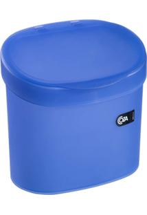 """Lixeira 4L Com Borda Para Esconder Saco De Lixo """" Ideal Para Pia """" Cor Azul - Coza"""