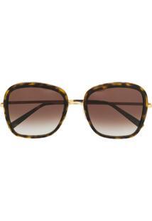 Stella Mccartney Eyewear Óculos De Sol Quadrado Com Efeito Tartaruga E Lentes Degradê - Marrom