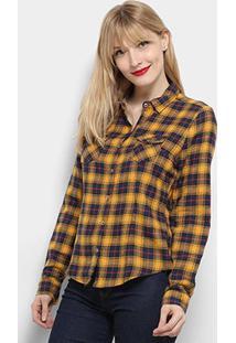 Camisa Xadrez Manga Aishty Longa Feminina - Feminino-Amarelo+Marinho