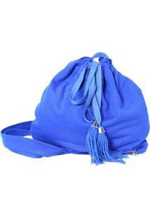 Bolsa Heide Ribeiro Transversal De Tecido Feminina - Feminino-Azul Royal