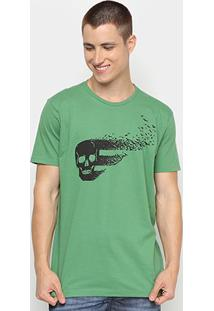 Camiseta Ellus Caveira Halloween Herchcovitch Masculina - Masculino-Verde
