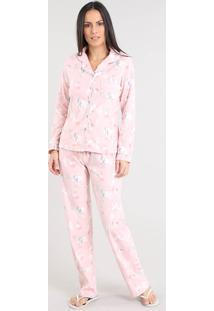 Pijama De Inverno Feminino Estampado Floral Em Fleece Manga Longa Rosê