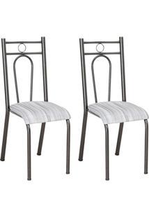 Conjunto 2 Cadeiras Hanumam Cromo Preto E Linho