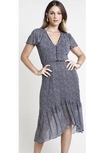 Vestido Feminino Midi Em Tule Estampado Floral Com Babado Manga Curta Azul Marinho
