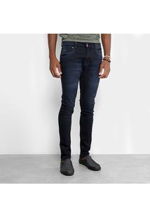 Calça Jeans Skinny Gangster Estonada Masculina - Masculino-Azul Escuro