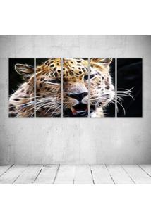 Quadro Decorativo - Leopard Neon Face - Composto De 5 Quadros