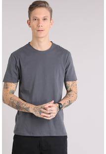 Camiseta Masculina Básica Manga Curta Gola Careca Chumbo