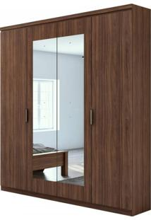 Guarda Roupa Solteiro 4 Espelhos 4 Portas 2 Gavetas Alonzo Plus Móveis Lopas Imbuia Naturale