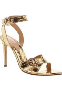 Sandália Em Couro Metalizada - Douradaschutz