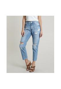 Calça Jeans Feminina Boyfriend Cintura Média Destroyed Com Bolsos Azul Claro