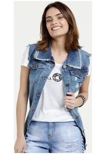 Colete Feminino Jeans Destroyed Five Jeans