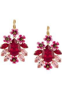 Dolce & Gabbana Par De Brincos Com Cristais - Rosa