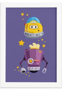 Quadro Infantil Robôs Amigos Moldura Branca 22X32Cm
