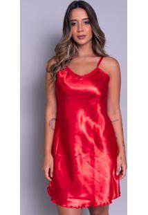 Camisola Bella Fiore Modas Em Cetim Vermelho - Vermelho - Feminino - Poliã©Ster - Dafiti
