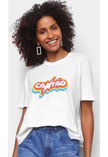 Camiseta Cantão Rainbow Feminina - Feminino-Branco